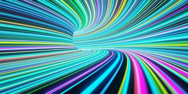 Abstracte zelflichtende gekleurde lijnen bewegen snel in de tunnel. 3d-weergave
