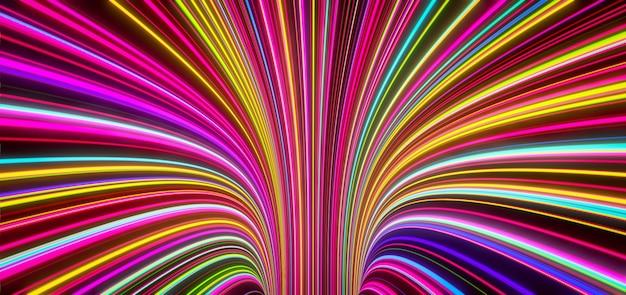 Abstracte zelflichtgevende gekleurde lijnen komen uit het gat. 3d-weergave