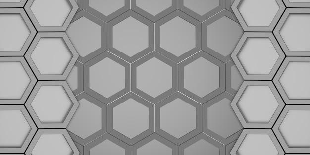 Abstracte zeshoek twee lagen zeshoekige honingraat zeshoekige muur schaduw
