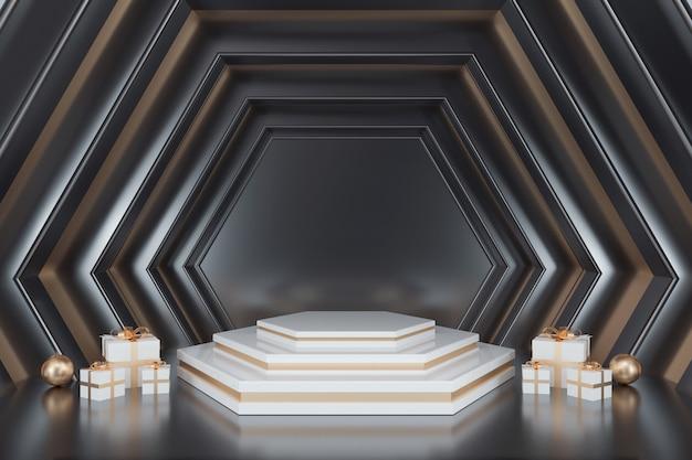 Abstracte zeshoekige vormachtergrond met podium voor producttribune