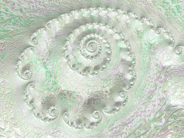 Abstracte zilveren lichtgroene geweven spiraalvormige 3d fractal, geeft terug