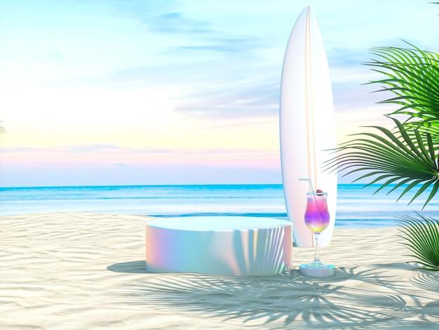 Abstracte zomerse strandscène met een podiumachtergrond