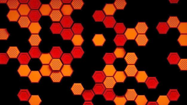 Abstracte zwart rood oranje zeshoekig