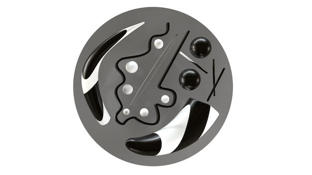 Abstracte zwart-wit compositie 3d render