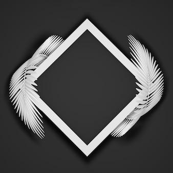 Abstracte zwart-wit moderne achtergrond van een vierkant frame omgeven door twee afgeronde pluizige palmbladeren. 3d illustratie.3d render