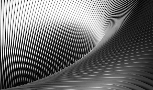 Abstracte zwart-wit zwart-witte achtergrond met kromme ronde parallelle lijnen patroon in mat aluminium metaal