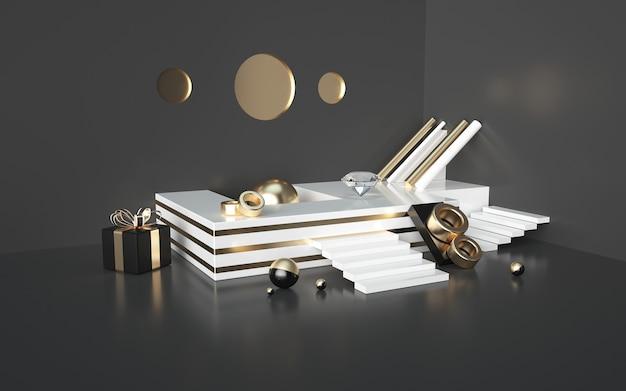 Abstracte zwarte 3d renderings met goud gestreept podium en geschenkdoos voor een productvertoning
