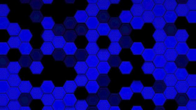 Abstracte zwarte en blauwe zeshoekige