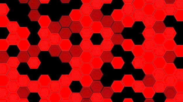 Abstracte zwarte en rode zeshoekige