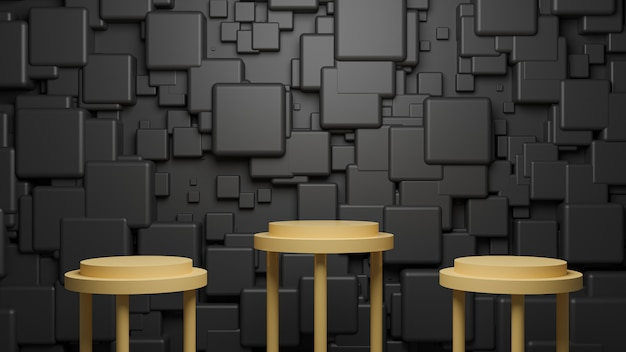 Abstracte zwarte kubus achtergrond geel podium 3d render podium voor productpresentatie