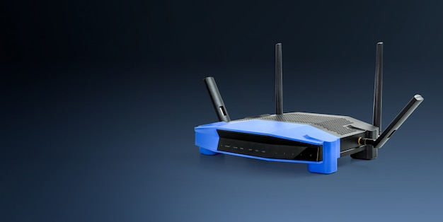 Abtract 5g, 2.4g moderne draadloze wifi router blauwe achtergrond met uitknippad.