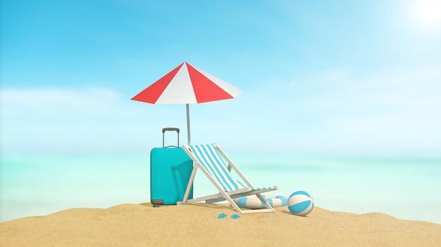 Accessoires voor reizen over zee met zee-achtergrond