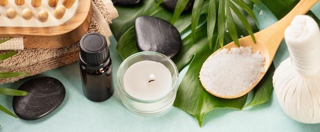 Accessoires voor spa-procedures. natuurlijke ingrediënten voor schoonheid