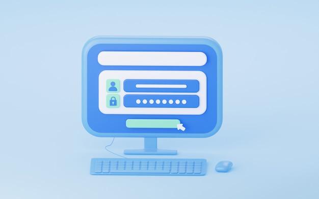 Account login en wachtwoord op computer met knop 3d-rendering