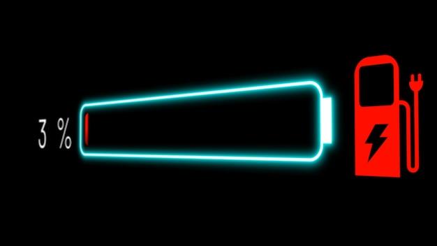 Accu van elektrische auto in visionair dashboard met actief opladen