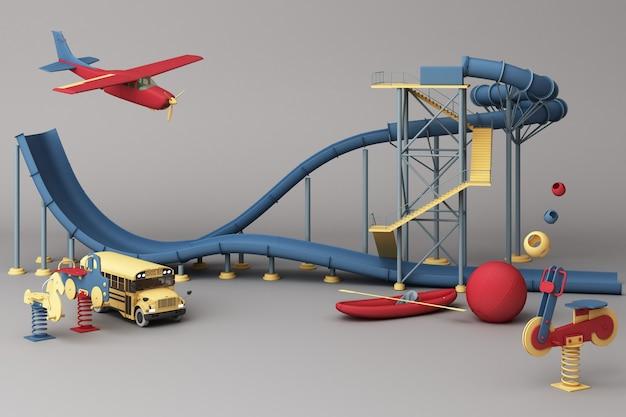 Achtbaan in pretparken omgeven door veel speelgoed