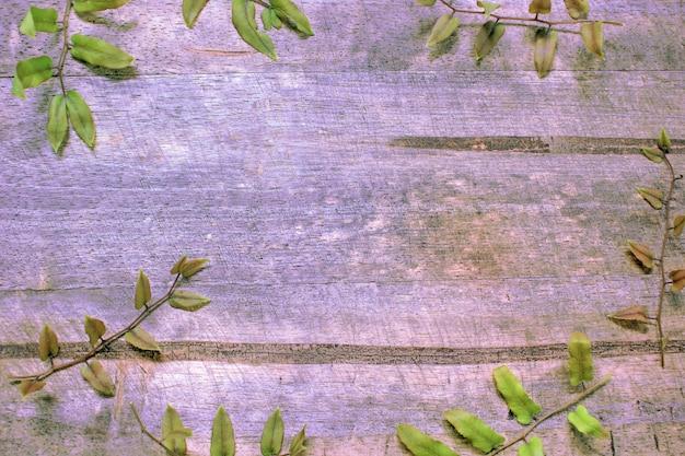 Achter de houten vloer met varenbladeren.