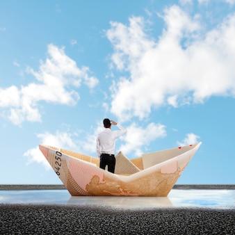 Achter mening van zakenman in een papieren bootje