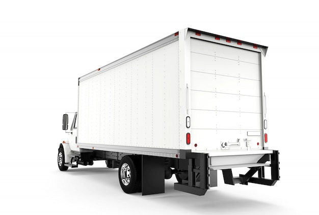 Achter witte vrachtwagen die op wit wordt geïsoleerd