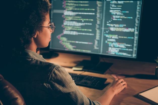 Achteraanzicht foto van programmeur dame kijk grote monitor