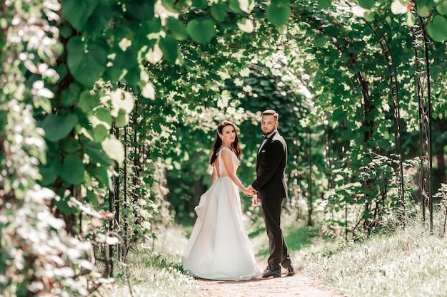 Achteraanzicht. gelukkige bruid en bruidegom passeren onder de huwelijksboog. evenementen en tradities