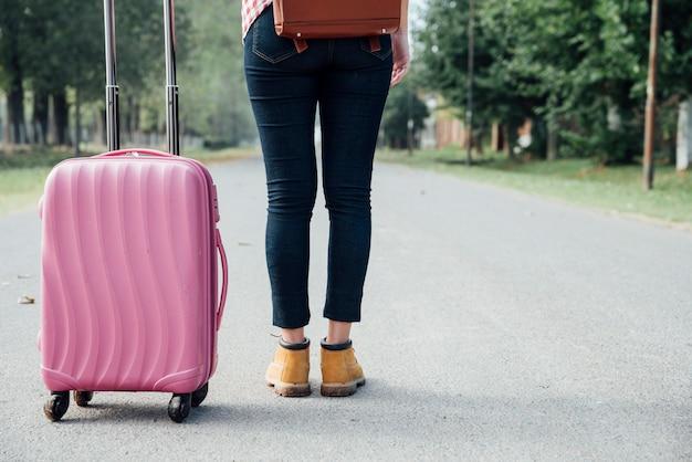 Achteraanzicht jong meisje met roze bagage in het park