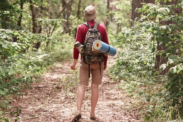 Achteraanzicht van de reiziger die zijn pad volgt, gaat kamperen, op zoek is naar avonturen, geniet van de natuur, een tocht door het bos maakt, alleen ronddwaalt, vrijetijdskleding draagt, alle benodigde apparatuur.