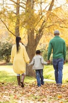 Achteraanzicht van een jong gezin