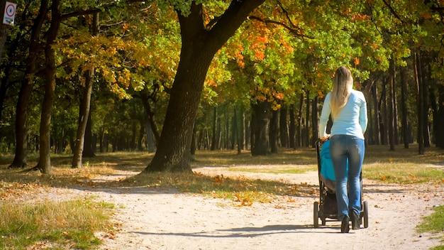 Achteraanzicht van een jonge vrouw die met een kinderwagen in het herfstpark loopt.