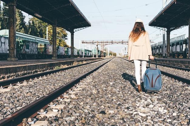 Achteraanzicht van een vrouw gekleed met een beige hoed en jas die met haar koffer over een treinstation loopt