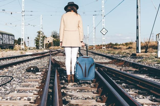 Achteraanzicht van een vrouw gekleed met een grijze hoed en een beige jas die met haar koffer langs een spoorlijn loopt.