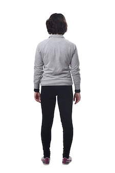 Achteraanzicht van een vrouw met sportkleding op witte achtergrond