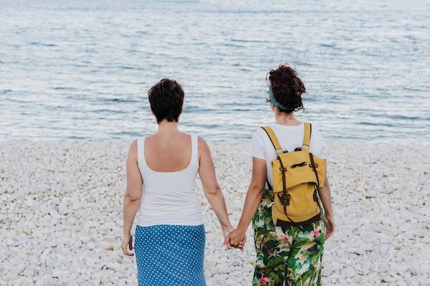 Achteraanzicht van lesbisch koppel hand in hand op het strand tijdens zonsondergang. liefde is liefde en lgtbi-concept