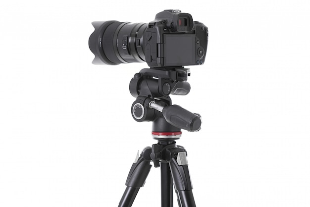 Achteraanzicht van moderne multifunctionele zwarte camera geïsoleerd