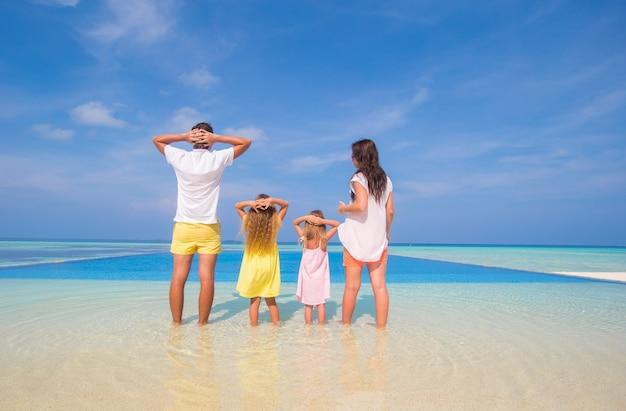 Achteraanzicht van prachtige familie op een strand tijdens zomervakantie