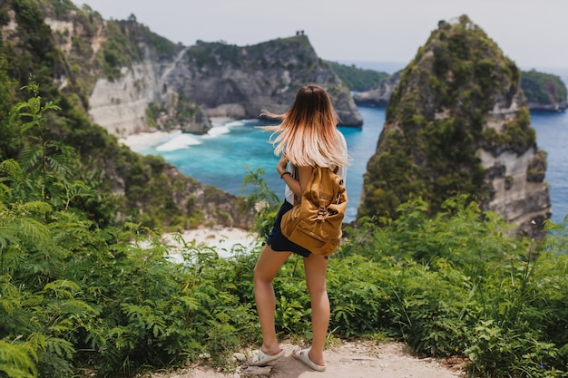 Achteraanzicht van reizende vrouw staande op kliffen en tropisch strand