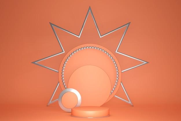 Achtergrond 3d oranje koraalcilinderpodium en minimale geometrische scène met zilveren frame ster stage producten voetstuk platform