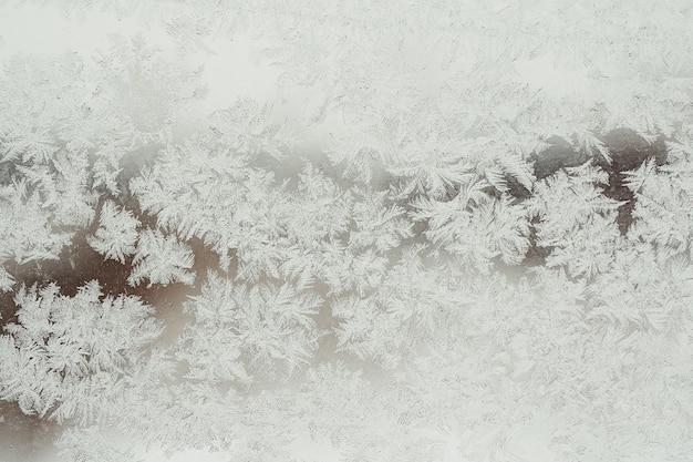 Achtergrond en textuur van bevroren glas in rijm. winter.