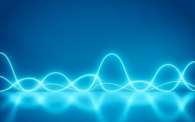 Achtergrond futuristische abstracte blauwe neon golven beweging licht vormen op kleurrijk en reflecterend - lasershow, nachtclub interieurverlichting, 3d-rendering,