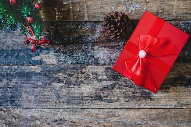 Achtergrond geschenkverpakking kerstmis en gelukkig nieuwjaar