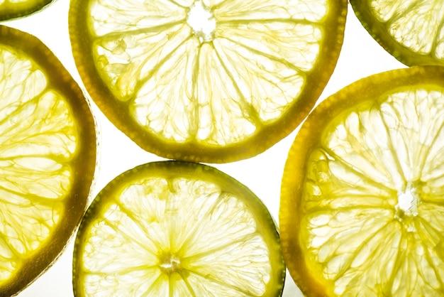 Achtergrond gesneden plakjes citroen