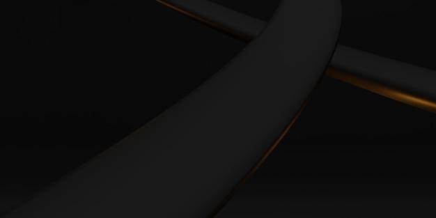 Achtergrond golf kromme plastic buis textuur zwarte kromme vervormd 3d abstracte illustratie