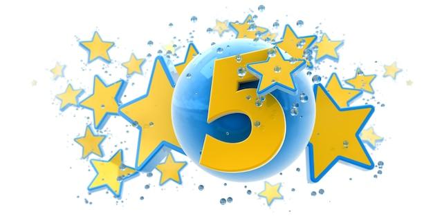 Achtergrond in blauwe en gele kleuren met sterrendalingen en bollen en nummer vijf