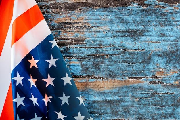 Achtergrond met amerikaanse vlag en copyspace