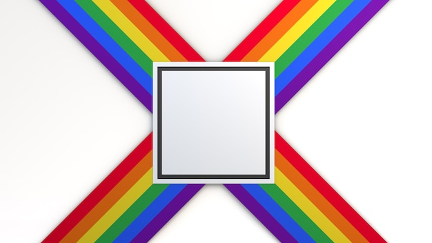 Achtergrond met de kleuren van de trotsvlag met vierkante ruimte om tekst te plaatsen. 3d illustratie.
