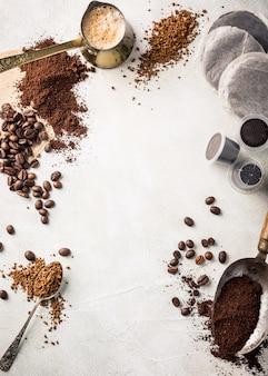 Achtergrond met diverse koffie