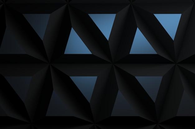 Achtergrond met extra grote piramide driehoeken tegels in donkerblauwe kleuren