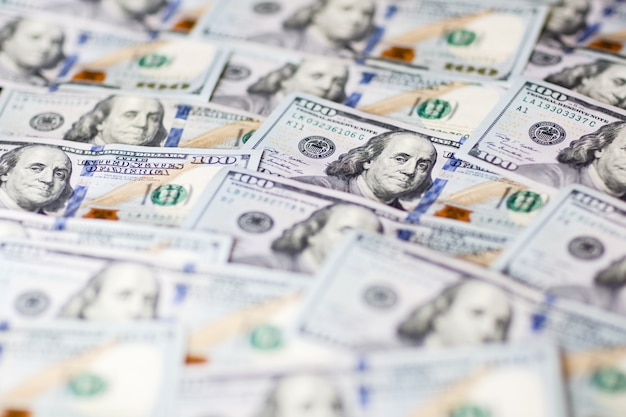 Achtergrond met geld honderd dollarbiljetten