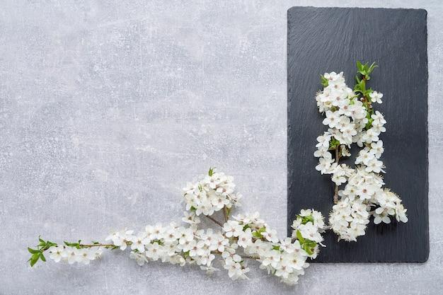 Achtergrond met lente bloeiende tak van pruimenbomen. kopieer ruimte, bovenaanzicht.