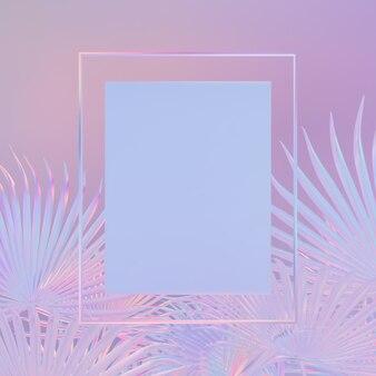 Achtergrond met rechthoekig kader op tropische bladeren. holografische iriserende textuur. neonlicht.